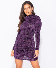 Load image into Gallery viewer, Leopard Metallic Print High Neck Ruching Detail Bodycon Mini Dress by uniquely-sophias