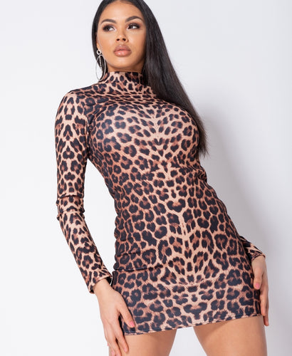 Leopard Print High Neck Long Sleeve Bodycon Dress