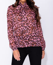 Load image into Gallery viewer, Leopard Print Pussy Bow Long Sleeve Blouse by uniquely-sophias