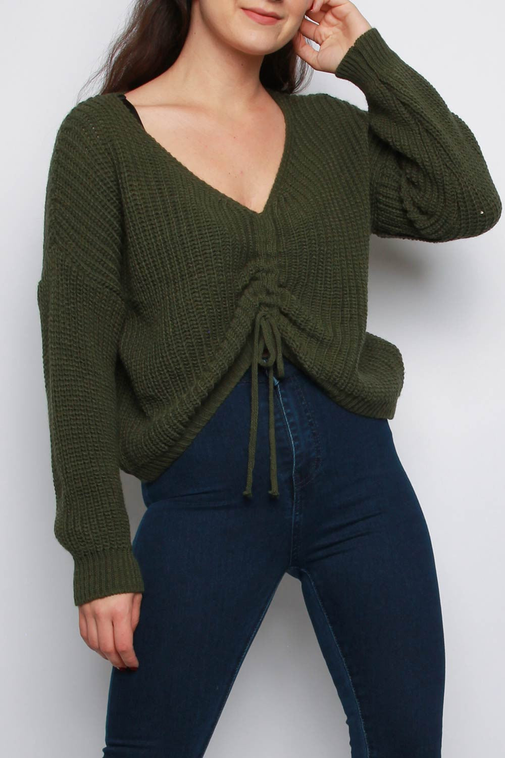 Khaki V Neck Ruching Detail Tie Up Jumper
