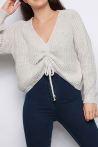 Beige V Neck Ruching Detail Tie Up Jumper