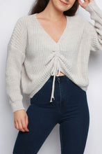 Load image into Gallery viewer, Beige V Neck Ruching Detail Tie Up Jumper