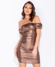 Load image into Gallery viewer, Metallic Ruching Detail Bardot Bodycon Mini Dress by uniquely-sophias