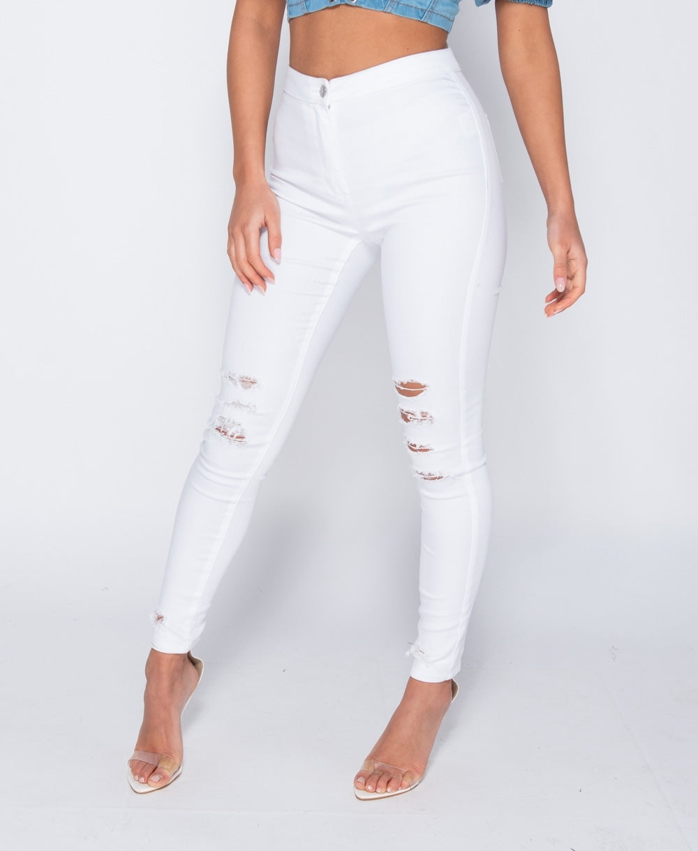 Multi Knee Rip High Waisted Jeggings
