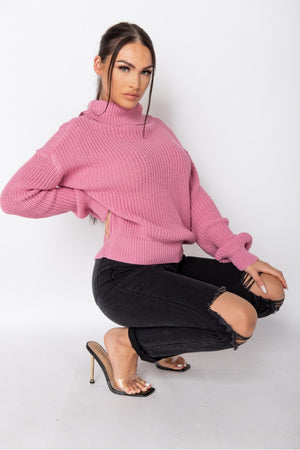Pink Turtle Neck Rib Knit Jumper