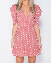 Load image into Gallery viewer, Pink Polka Dot Frill Hem Puff Sleeve V Neck Mini Dress