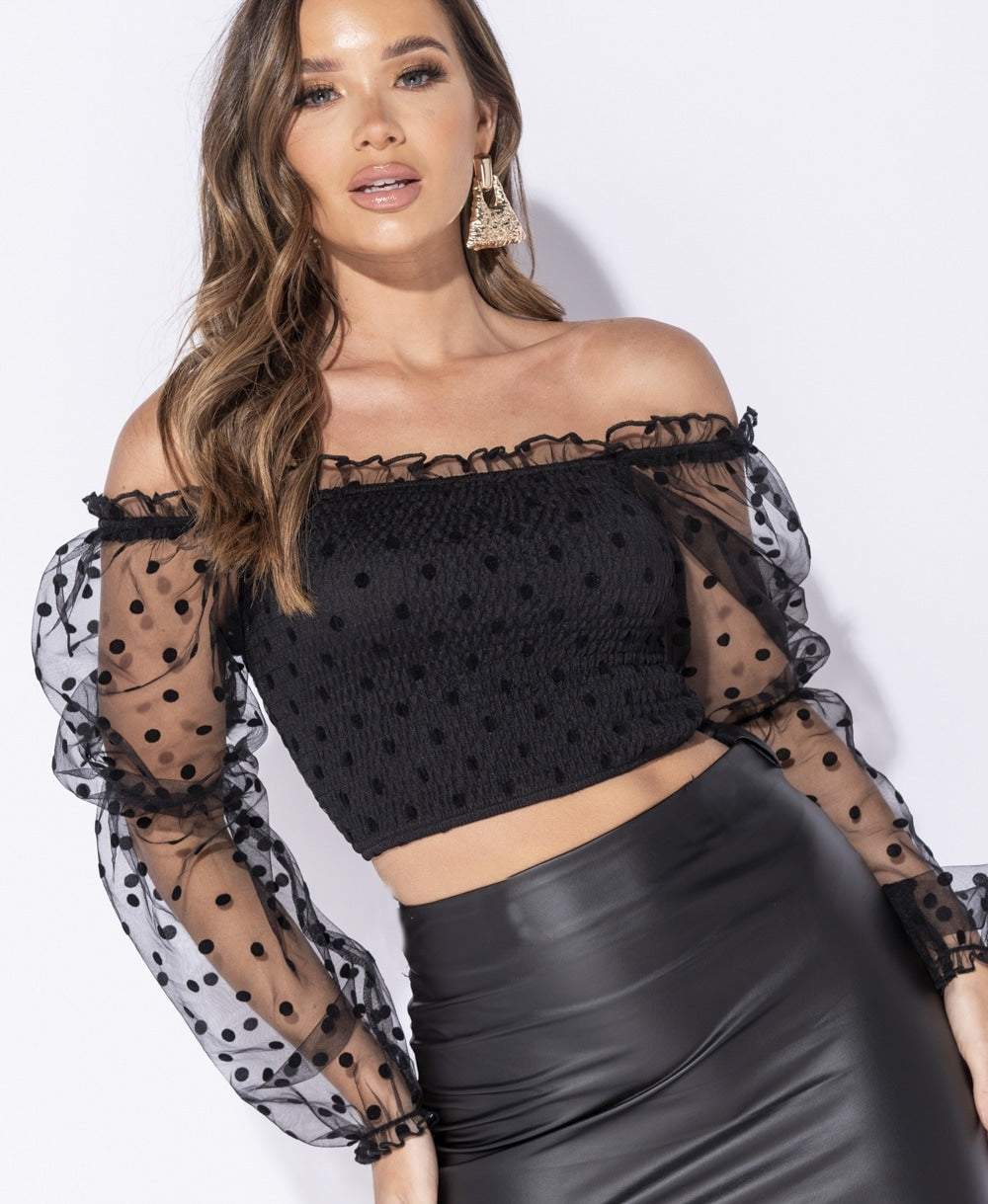 Polka Dot Sheer Shirring Detail Bardot Crop Top