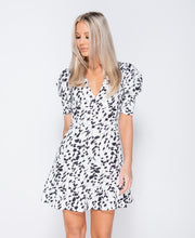 Load image into Gallery viewer, Printed Puff Sleeve Frill Hem V Neck Mini Dress