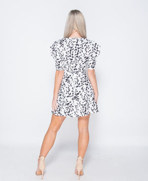 Printed Puff Sleeve Frill Hem V Neck Mini Dress