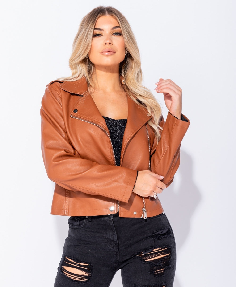 PU Zip Detail Biker Jacket