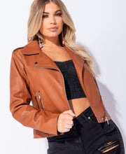 Load image into Gallery viewer, PU Zip Detail Biker Jacket