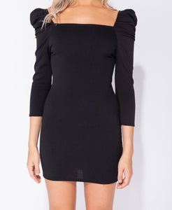 Black Puff Sleeve Square Neck Long Sleeve Bodycon Dress