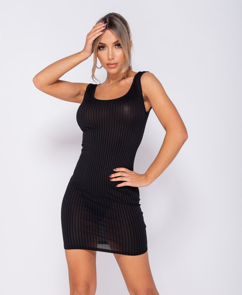 Black Rib Knit Scoop Neck Bodycon Mini Dress