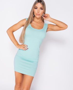Mint Rib Knit Bodycon Mini Dress