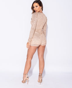 Nude Glitter Playsuit