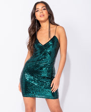 Load image into Gallery viewer, Sequin Plunge Neck Bodycon Cami Style Mini Dress by uniquely-sophias