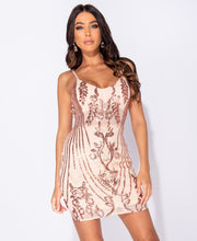 Load image into Gallery viewer, Nude Sequin Plunge Neck Bodycon Mini Dress by uniquely-sophias