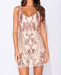 Nude Sequin Plunge Neck Bodycon Mini Dress by uniquely-sophias