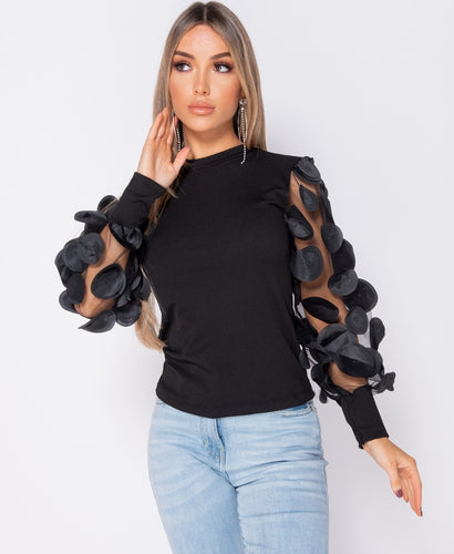 Sheer 3D Floral Sleeve High Neck Rib Top