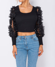 Load image into Gallery viewer, Black Sheer Frill Sleeve Scoop Neck Cropped Rib Knit Top