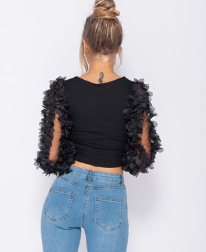 Black Sheer Frill Sleeve Scoop Neck Cropped Rib Knit Top