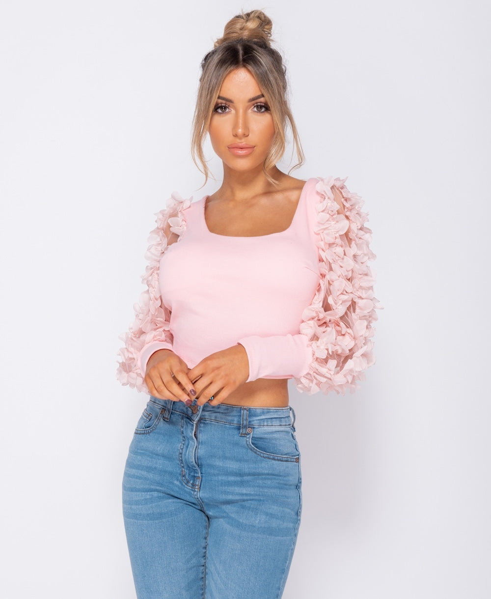 Sheer Frill Sleeve Scoop Neck Cropped Rib Knit Top
