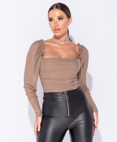 Sheer Puff Sleeve Ruching Detail Bodysuit