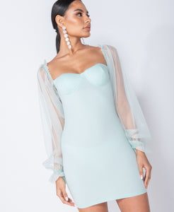 Mint Sheer Sleeve Bustier Detail Bodycon Mini Dress