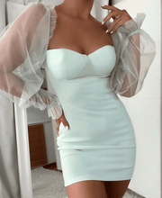 Load image into Gallery viewer, Mint Sheer Sleeve Bustier Detail Bodycon Mini Dress