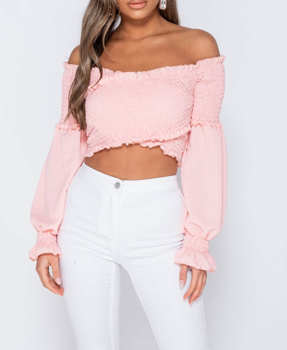 Pink Shirring Detail Long Sleeve Bardot  Crop Top