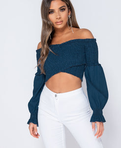 Shirring Detail Long Sleeve Bardot Denim Crop Top