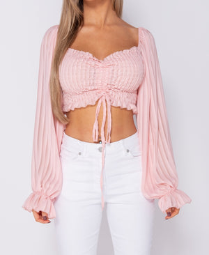Pink Shirring Detail Tie Front Full Sleeve Crop Top