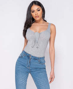 Grey of Tie Front Rib Knit Bodysuit