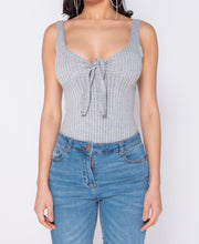 Load image into Gallery viewer, Grey of Tie Front Rib Knit Bodysuit