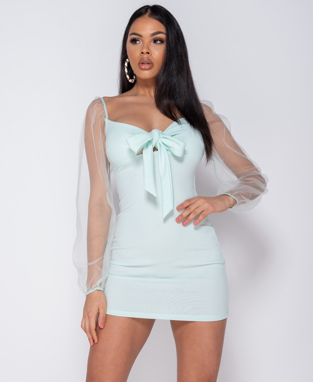 Mint Tie Up Detail Long Sheer Sleeve Bodycon Mini Dress