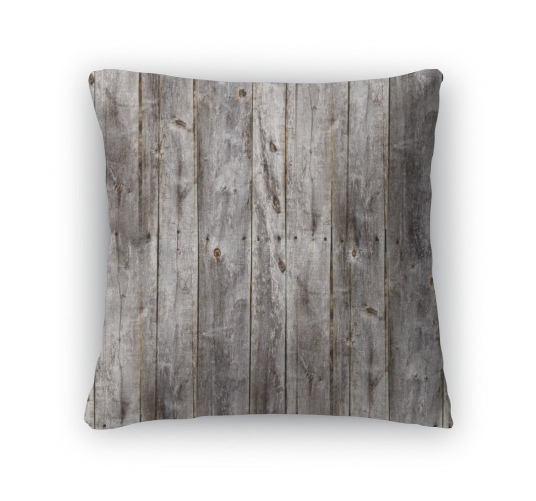 Throw Pillow, Old Gray Fence Boards Wood - KAUBI TRENDING EMPIRE