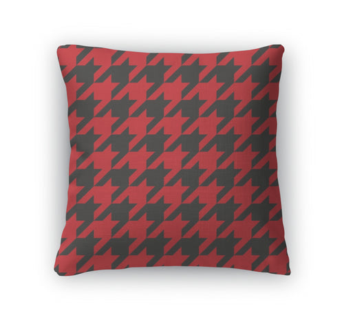 Throw Pillow, Houndstooth Red And Black Pattern Or Traditional Scottish Plaid Fabric For - KAUBI TRENDING EMPIRE