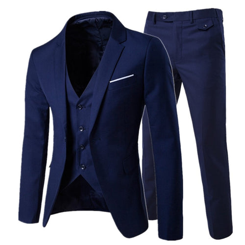 2019 men's fashion Slim suits business three-piece - kaubi-online