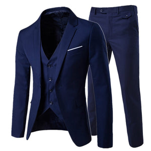 2019 men's fashion Slim suits business three-piece - KAUBI TRENDING EMPIRE