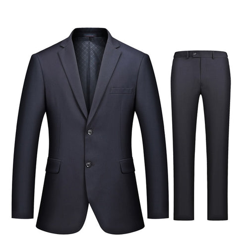 Business Casual Luxury Suit Men Slim Fit Suits with Pants 2 Piece - KAUBI TRENDING EMPIRE