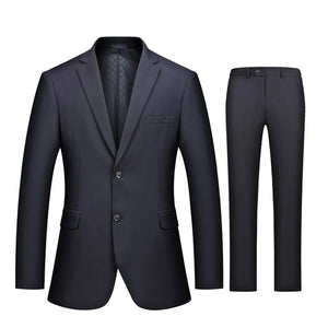 Business Casual Luxury Suit Men Slim Fit Suits with Pants 2 Piece - kaubi-online
