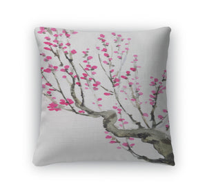 Throw Pillow, Watercolor Crimson Flowers On Tree Branches - kaubi-online