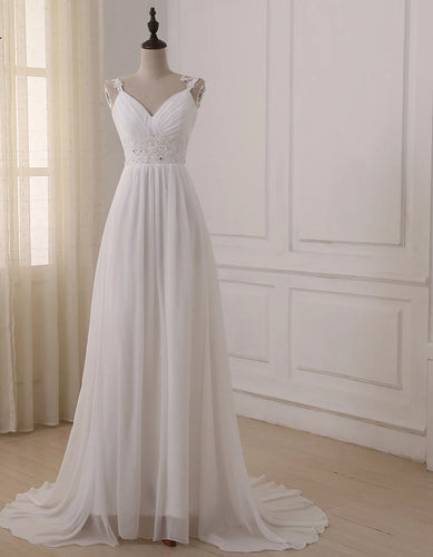 Plus Size Spaghetti Straps Chiffon Wedding Bridal Dresses - KAUBI TRENDING EMPIRE