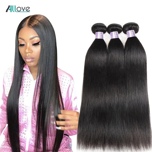 Allove Straight Hair Bundles Brazilian Hair Weave Bundles 100% Human Hair Bundles Natural Color Non Remy Hair Weave 1/3/4 Pieces - KAUBI TRENDING EMPIRE