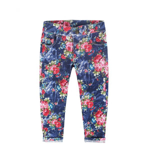 Thin Section Girls Floral Jeans Pants - KAUBI TRENDING EMPIRE