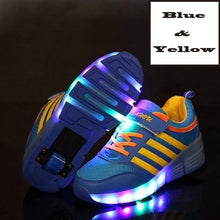 Load image into Gallery viewer, Roller Skate Sneakers with Wheels glowing Led Light Up Unisex - KAUBI TRENDING EMPIRE