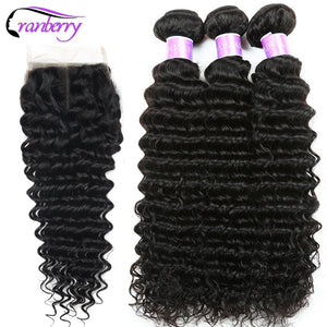 CRANBERRY Hair Deep Wave Human Hair Bundles With Closure 4 pcs/lot Brazilian Hair Weave Bundles With Closure Remy Hair Extension - KAUBI TRENDING EMPIRE