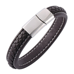 Leather Stainless Steel Magnetic Buckle Charm Bracelets - KAUBI TRENDING EMPIRE