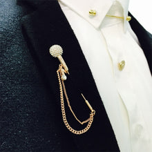Load image into Gallery viewer, Lapel Pin Vintage microphone tassel Retro Stick Brooches Gold Pins - KAUBI TRENDING EMPIRE