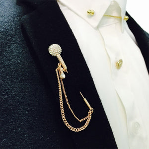 Lapel Pin Vintage microphone tassel Retro Stick Brooches Gold Pins - KAUBI TRENDING EMPIRE